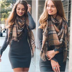 Mocha plaid blanket scarf